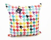 "Houndstooth Throw Pillow Cover - ""Happy Houndstooth"" - 18"" x 18"""