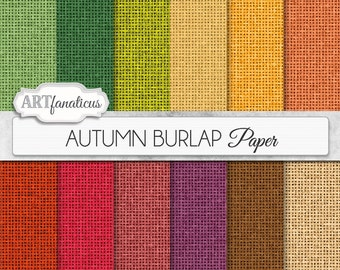 "Burlap texture papers ""AUTUMN BURLAP"" rustic burlap texture paper in green,rust,orange,color of fall, for weddings,scrapbooking, invitations"