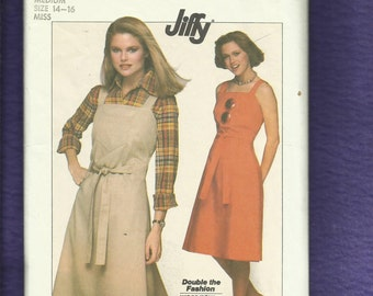 1977 Simplicity 8005 Wrap Sundress or Jumper  That Wraps to the Back and Ties to the Front Size 14/16