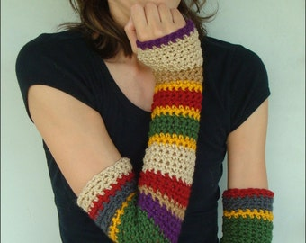 4th Doctor Who Scarf Inspired Long Armwarmers