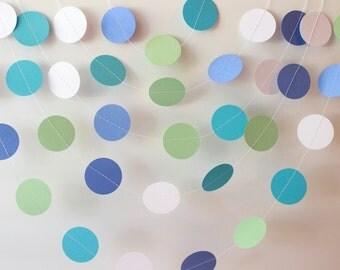 Wedding Garland, Mint Green, Blue & White Paper Garland 10 ft - Bridal Shower, Baby Shower, Birthday Party Decorations, Kids Room Decor