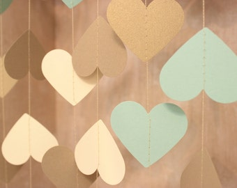 Gold Garland, Paper Garland, Wedding Garland, Bridal Shower Decor, Heart Garland, Heart Bunting, Mint & Gold Party Decor, Rustic Decor