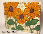 "Sunflowers mixed media canvas original - 8"" x 10"", spring, summer, vintage music sheets, mother's day"