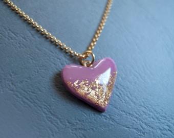 Fuchsia Gold Heart Necklace - Bridesmaide Gift