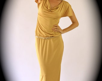 Gold maxi dress with cowl neckline and low cut back