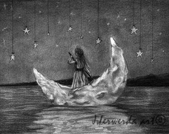 Pencil Drawing Print - Moonboat - Day 264