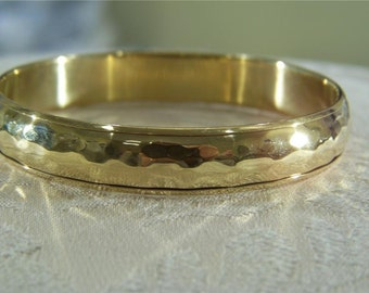 Vintage  Yellow Gold tone texture pounded wide dome bangle bracelet       W