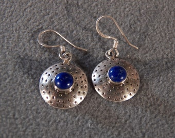 Vintage Sterling Silver Dangle Earrings with Large Silver Disks Inset with Round Blue Lapis Stones                M