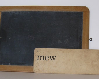 "Vintage Phonics Card  ""mew"", 2 sided, no. 33"