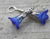 Blue Trumpet Flower Earrings Silver Filigree Lucite Flower Fairy Inspired Long Lever Back Summer Jewelry