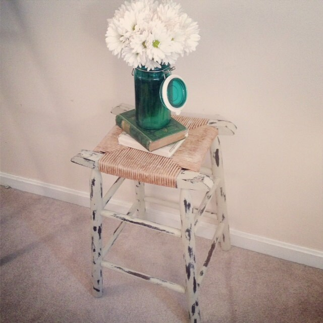 Primitive Rustic Bar Stool Distressed Shabby Chic Furniture