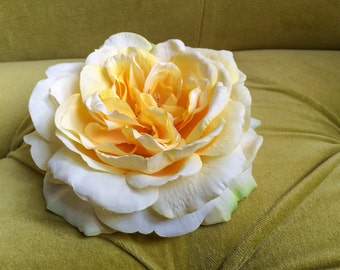 Large Pastel Yellow Rose Spring Fabric Flower Hair Clip Fascinator Hat Felted Natural Bridal Masquerade Burlesque Head Piece Watercolor