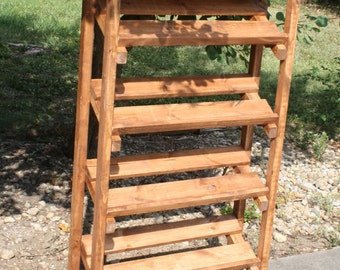"American Walnut Stained SHOE RACK Store Display Hand-Made 4-Tier Shelf Angled With Top Framework 10-1/2"" x32"" x60""h Custom Sizes Available"