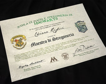 Hogwarts witchcraft and wizardry Diploma on parchment paper customizable with name, house crest and grades!