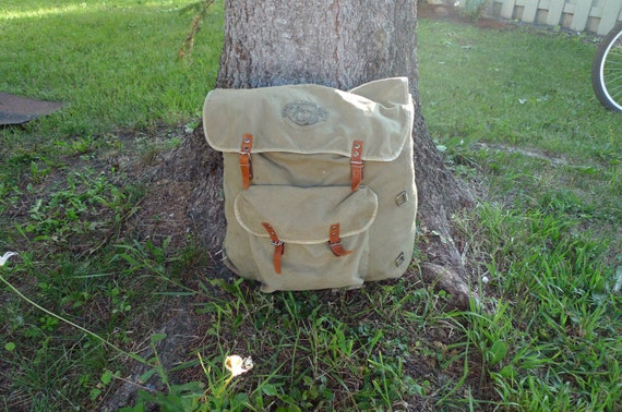 Vintage 'Official Trail Camp' Green Canvas Yucca Pack Backpack - circa 1960's, 1970's
