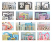 Custom Made Picture Frames Set of 5 Distressed Painted Photo Frames Wall Collage
