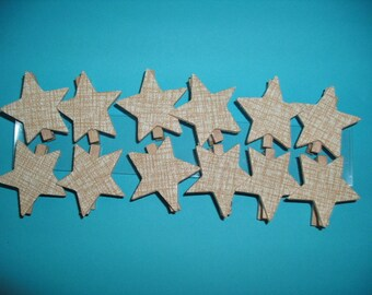 Wood clip with star, 12 pieces (199)