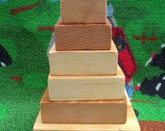 Handmade, wooden stacking toy (squares) all natural, eco-friendly