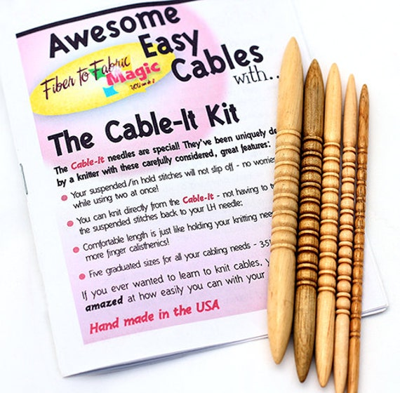 Easy, Awesome Cables with the CABLE-IT Kit - 5 hand carved, hardwood cable needles, case and booklet