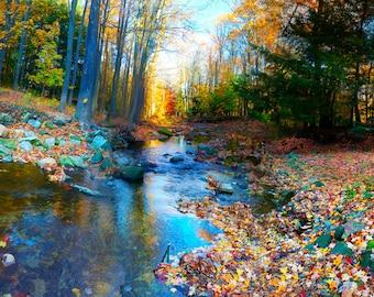 Autumn Creek art print, fall, panoramic print