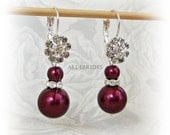 Pearl Earrings. Burgundy Earrings. Pearl and Crystal Earrings, Bridal Bridesmaid Wedding Jewelry