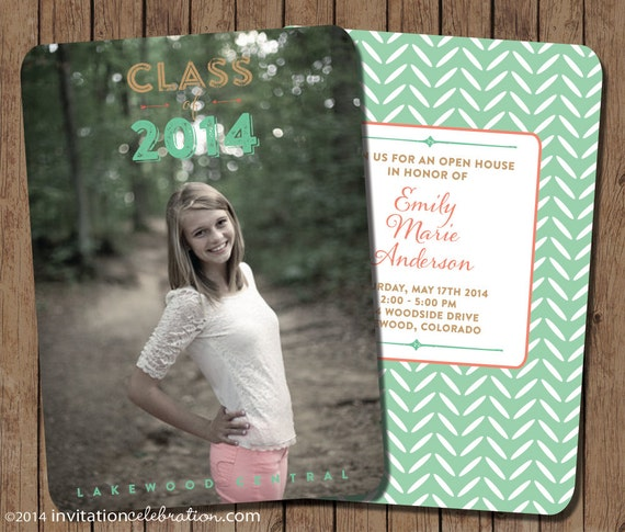 mint and coral graduation invitation open house printable