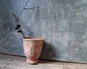 Vintage Fleur de Lis Embossed Clay Pot: Terracotta Whitewashed with Gold Accents