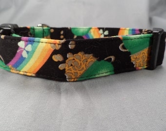 Rainbows and Gold St. Patrick Dog Collar