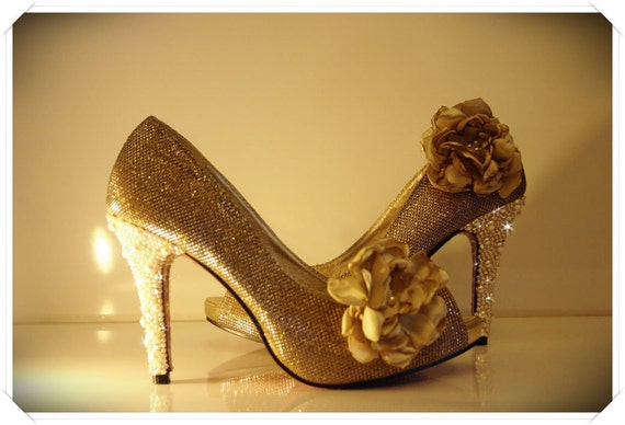 Gold wedding shoes with Pearls and Rhinestones embellishment