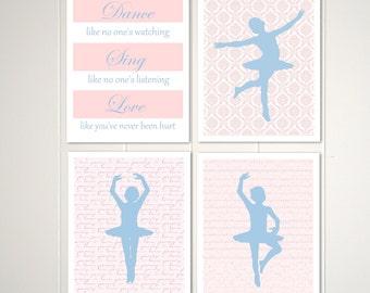 Baby girl nursery, girls room wall art, ballerina, french decor, pink, blue, baby girl nursery, Set of 4, 8x10 prints