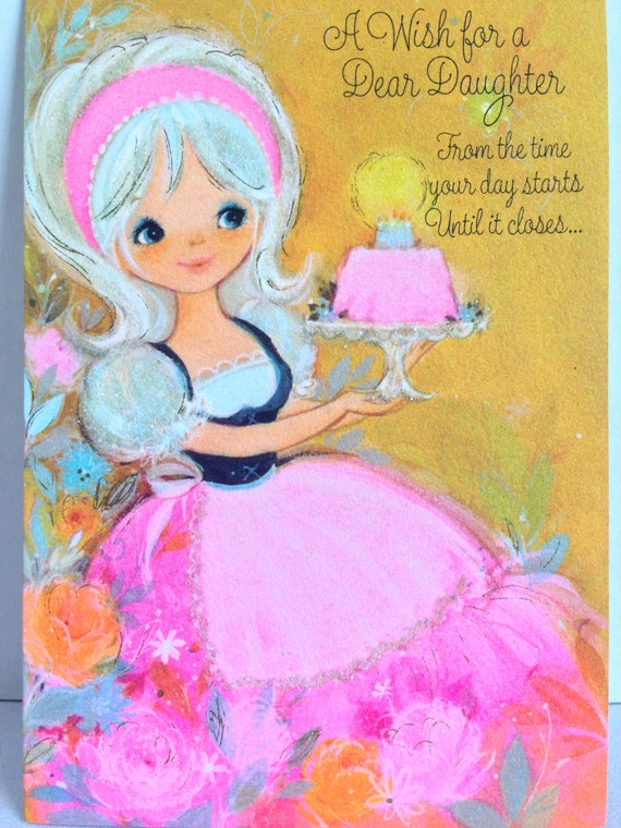 Ambassador Glitter Card Vintage Happy Birthday Daughter