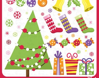 Christmas ClipArt Elements Cm001 Personal and Commercial Use, cards, invitations, scrapbooking and all paper crafts