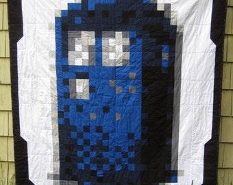 8-Bit/Pixelated Doctor Who Tardis Lap Quilt