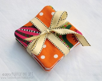 Orange Polka Dot Fabric Coasters, Set of 4, Housewarming/Hostess Gift