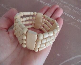 Eco wood jewelry Cream color wood bracelet Wood bead bracelet  Wooden jewelry strand  Natural wood beaded bracelet