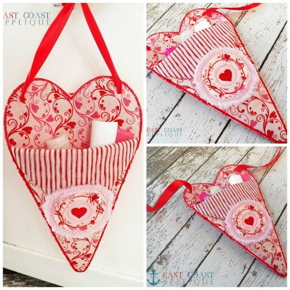 Valentine pocket posy machine embroidery design