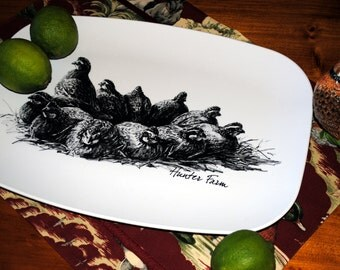 Melamine Dinnerware, Bobwhite Quail Covey Design