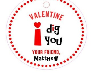 I Dig You Valentine's Day Party Tags Stickers