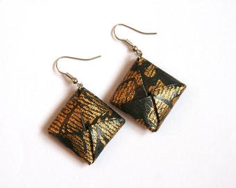 Charcoal Grey and Gold Origami Square Earrings - Paper Earrings