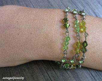 Wedding  Bracelet, Green mint Swarovski crystal beads, Vintage crystal bracelet, Bridal jewelry, Bridesmaid gift,Woman jewelry,Mom/Sister,