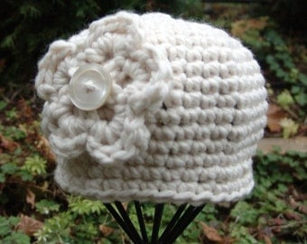 READY TO SHIP: Crochet Chunky Beanie Hat in White with White Flower and Button Center