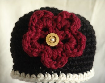 Handmade Crochet Chunky Beanie Hat in Black with White trim and Red Flower with Button Center