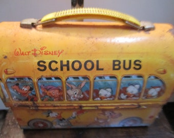 Vtg. Walt Disney School Bus Lunch Bucket/Steampunk Purse Sold In As Is Condition