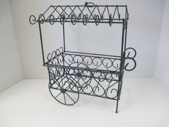 vintage hanging wire flower cart display for diy flower