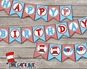 "INSTANT DOWNLOAD - The Cat's Hat / Red and Blue  ""Happy Birthday"" Bunting Banner - 1st 2nd 3rd - Digital Printable pdf file"