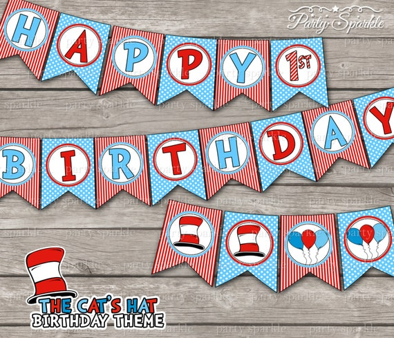 Cat Birthday Banner: INSTANT DOWNLOAD The Cat's Hat / Red And Blue