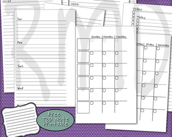 Basic Compact Personal Planner Pages for Filofax, Franklin Covey, Day Runner and More