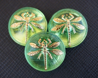 Hand Made Art Czech Glass Cabochon Green, Gold Dragonfly size 8, 18mm 1 pc (BUT15073/8)
