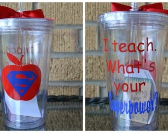 Teacher Gift - I Teach What's Your Superpower? - Tumbler - Personalized