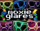 3 Light up sunglasses, rave glasses, diffraction glasses, el wire glasses